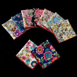 Men-Pocket-Square-Handkerchief-Cotton-Flower-Floral-Wedding-Party-Hanky-NEW