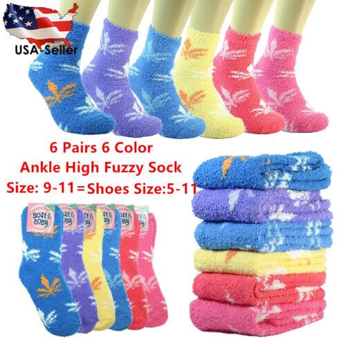 6 Pair Cozy Fuzzy Super Soft Winter Slippery Stripe Solid Slipper Socks 9-11