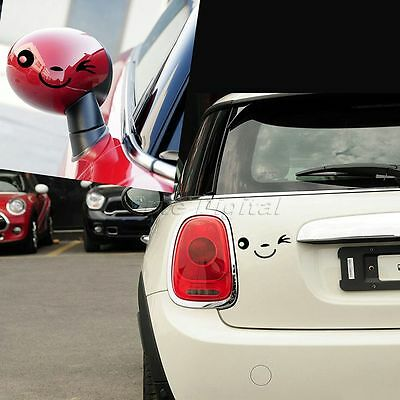 2Pcs Smile Face Design Racing Rear View Mirror Decal Window Car Stickers AN
