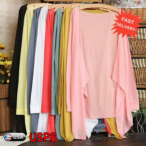 Summer-Women-Thin-Cardigan-Long-Sleeve-Open-Front-Sun-Protection-Clothing-Top-US