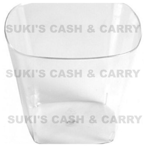 PLASTIC DISPOSABLE CLEAR DESSERT SHOT GLASSES CUPS SQUARE//BOWL//CIRCLE//WAVE