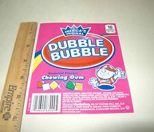 1 Orig Dubble Bubble Assorted Flavor Chiclets Bulk Vending Machine Product Label