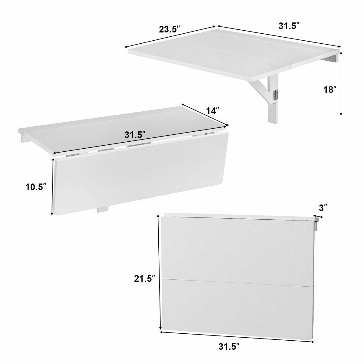 Wall-Mounted Drop-Leaf Table Folding Kitchen Dining Table Desk Space Saver  White