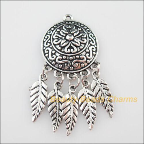 3Pcs Tibetan Silver Tone Round FLEUR PAMPILLES CHARMS pendentifs 23x49.5mm