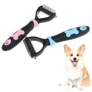 Pet-Knot-Cutter-Trimmer-Rake-GroomingShedding-Dogs-Stainless-Brush-Comb-Too-BWU
