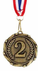 45 Mm Metal 2nd Place Médaille Trophée Avec Ruban Tout Sport Trophées-afficher Le Titre D'origine Excellente Qualité