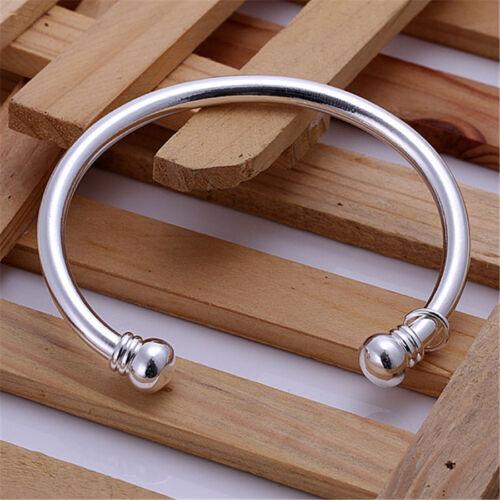 Pour Femmes Argent Fashion Elegant Belle noble solid Bangle Bracelet B27