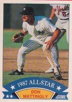 1988 Score Don Mattingly Box Bottom 1987 All Star Card 2 Ebay