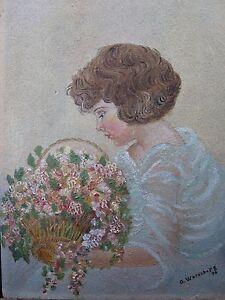 HonnêTeté Antique 1936 Pré Ww2 Américain Naive Peinture à L'huile Werneburg Fleur Bouquet éGouttage