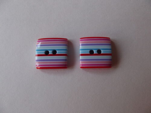 2 X MULTI STRIPED 15mm SQUARE BUTTONS ~ APPROX 4mm THICK