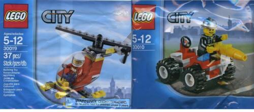 2x Lego City Feuerwehr Chief mit Auto 30019 Pilot mit Heli ////  30010