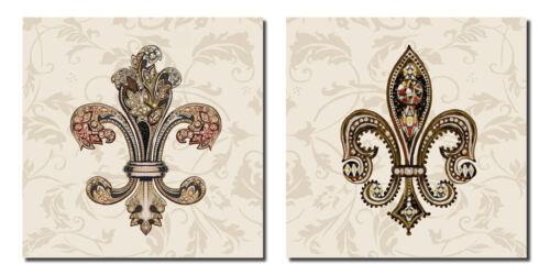Classic Popular Intricate Fleur De Lis Poster Set; Two12x12in Prints