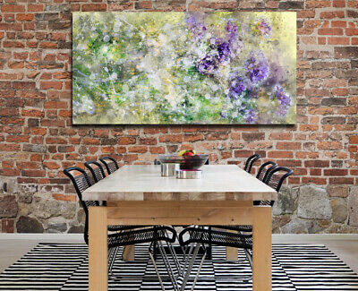 Green Purple Pastel Flowers Floral Splash Print Canvas Art Abstract John Lewis Ebay