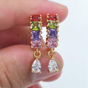 18K Yellow Gold Filled Women Rainbow Topaz Zircon Leaf Earrings Jewelry