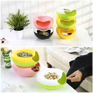 New-Creative-Lazy-Fruit-Plate-Plastic-Double-Layer-Candy-Peel-Seeds-Dish-Storage