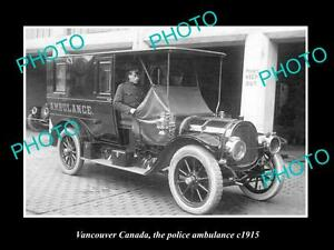 OLD-LARGE-HISTORIC-PHOTO-OF-VANCOUVER-CANADA-THE-POLICE-AMBULANCE-CAR-c1915