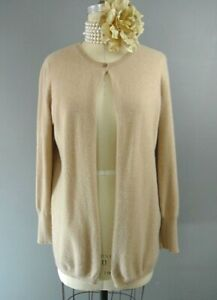f9f2dbdc6f586 Fabiana Filippi 100% Cashmere Cardigan Sweater 16 XL Beige Single ...