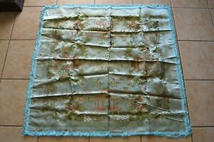Brocaded Flowers Vintage Chinese Tablecloth Silk Asian Landscape Dining Decor