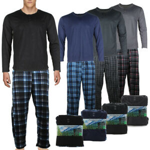 Rugged-Frontier-Men-039-s-Plaid-Fleece-2-Piece-Lounge-Pajama-Set