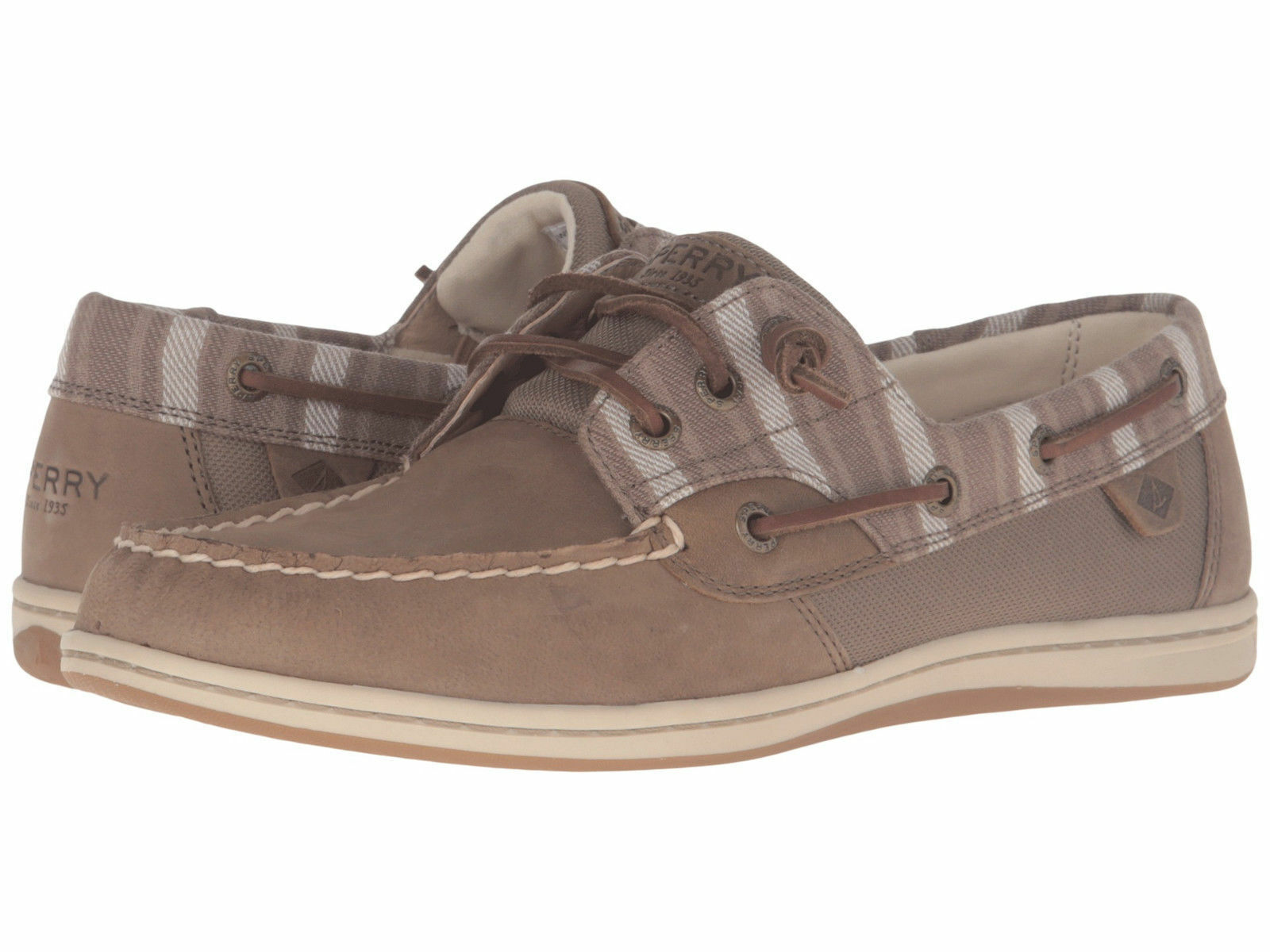 NIB Sperry Top-Sider Songfish Boat shoes Leather Striped Taupe Womens Sz 6.5 - 9
