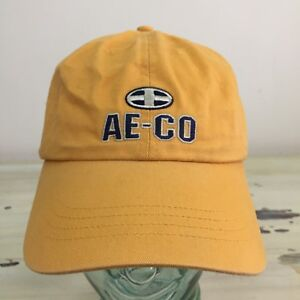 AMERICAN EAGLE OUTFITTERS - Vtg 90s AE-CO Yellow Leather Strapback ... 7381fd0c394