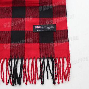 2d2da6086b94a Men Women unisex 100%CASHMERE Red Black square check tartan stripe ...