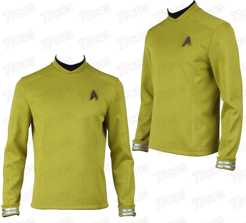 Star Trek Beyond Kirk Cosplay Costume Commander Uniform Yellow Shirt+Badge Sale