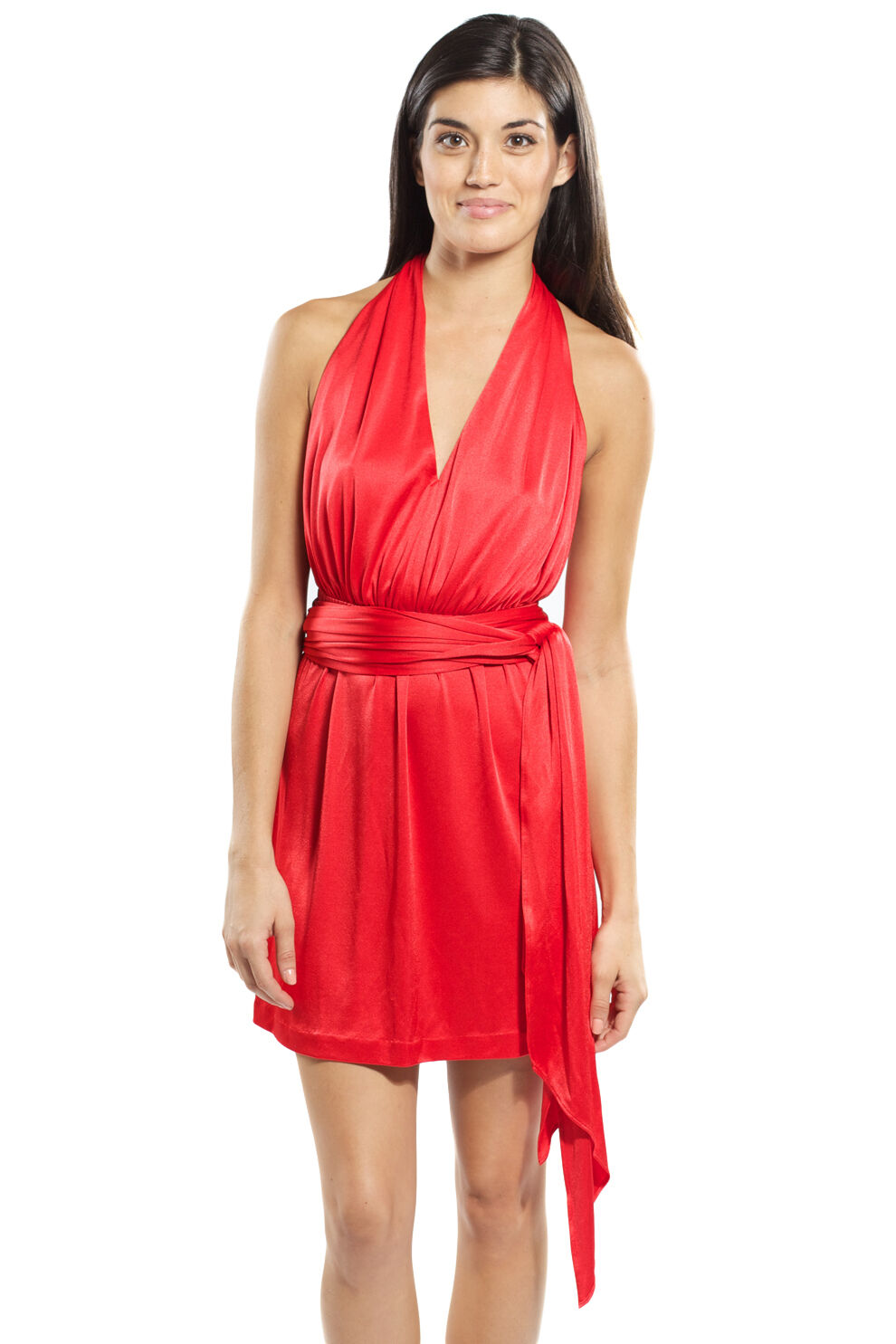 Halston Heritage V-neck Halter Day Short Dress Crimson rot Slinky jersey tie NEW