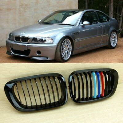 Pair Glossy Black M-Color Dual Line Grille For BMW E46 2 Door Coupe M3 1998-01