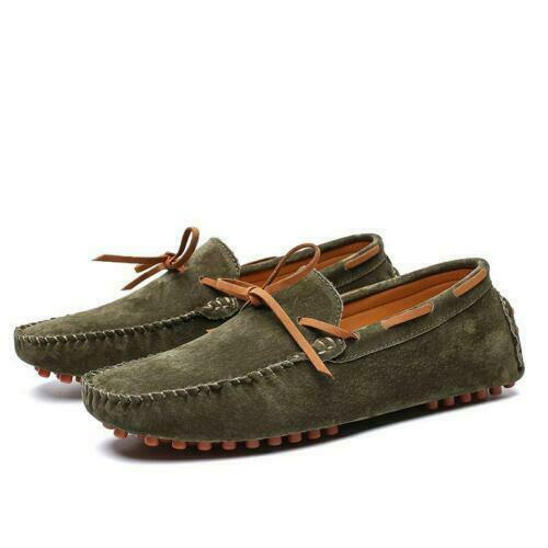 Mens Slips On Strap Bow Suede Drivers Gommino Moccasin Casual Boat Loafers Shoes
