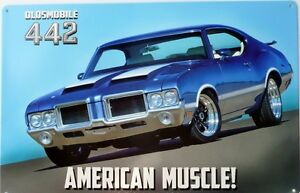 OLDSMOBILE-442-AMERICAN-MUSCLE-ALL-WEATHER-SIGN
