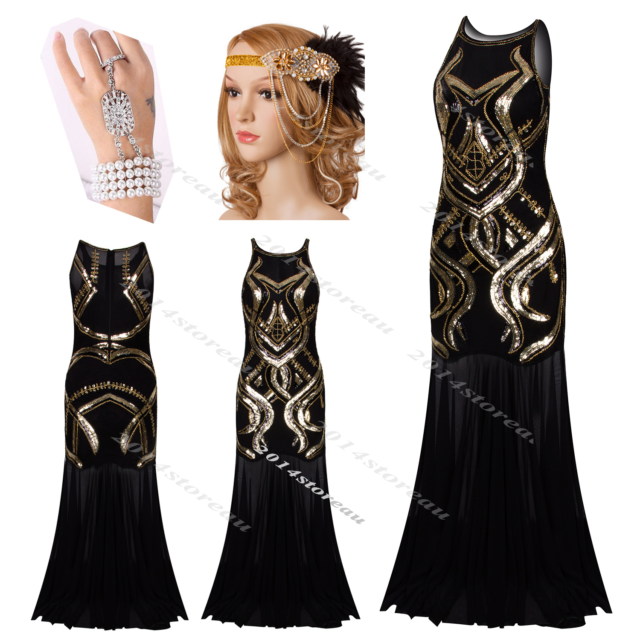 Long Prom Dresses 1920s Flapper Dress Gatsby Party Roaring 20s