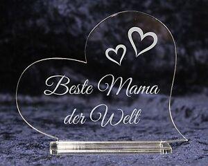 Acrylherz Mit Laser Motiv Gravur Beste Mama Oma Schatz Der Welt