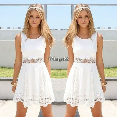 Women Summer Casual Sleeveless Evening Party Cocktail Lace Short Mini Dress UTAR