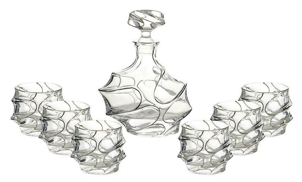 (D) Decanter Set with 6 Whisky Scotch Tumblers In Platinum Decoration, Lead Free