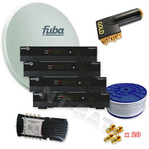 Fuba-Sat-Anlage-8-Teilnehmer-inkl-4-FULL-HDTV-Sat-Receiver-LNB-Quattro-NEU