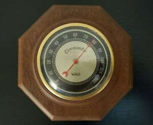 Vintage-Verichron-Solid-octogon-shaped-Wood-frame-with-circular-Thermometer