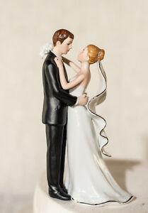 elegant porcelain first kiss bride groom romantic wedding cake topper