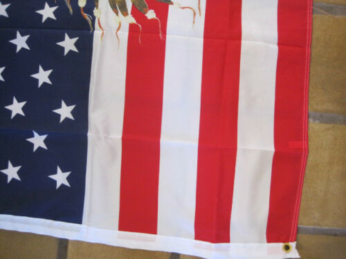 3 ft x 5 ft American Flag with Chief on Horse in Snow Polyester