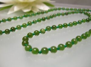 14k gold Vintage nature top quality Chinese green Jade 4 mm necklace 16-36 inch