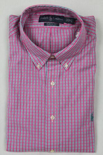 Ralph Lauren Pink Plaid Classic Dress Shirt Turquoise Pony NWT