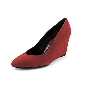 Brian-Atwood-Bejo-Womens-Size-7-5-Red-Suede-Wedges-Heels-Shoes