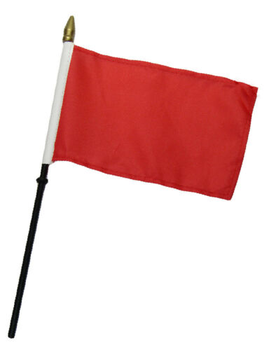 "Red Plain Solid Color 4/""x6/"" Flag Desk Table Set Wooden Stick Staff"