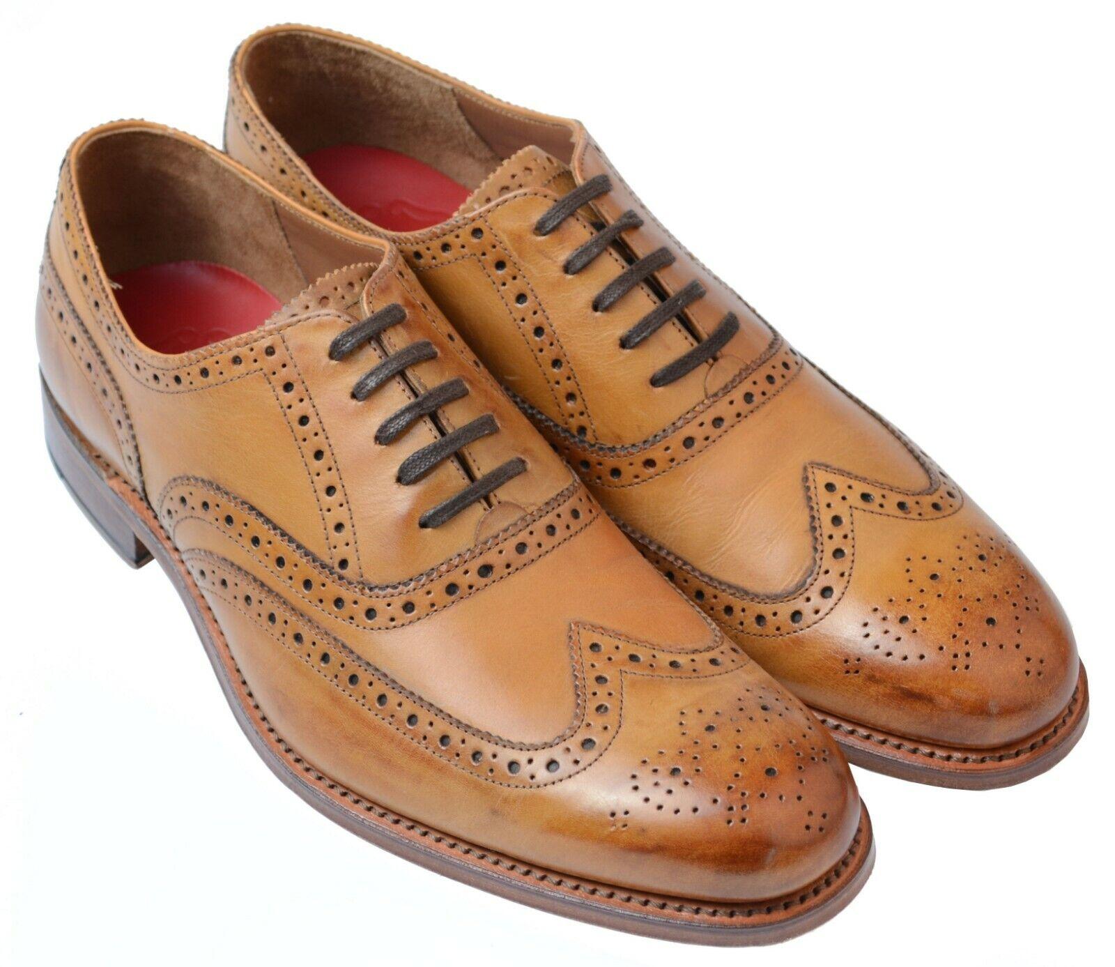 Gentleman's Classic Wing Tip Oxford Brogue Grenson Dylan tan UK Talla 8.5 F Ajuste