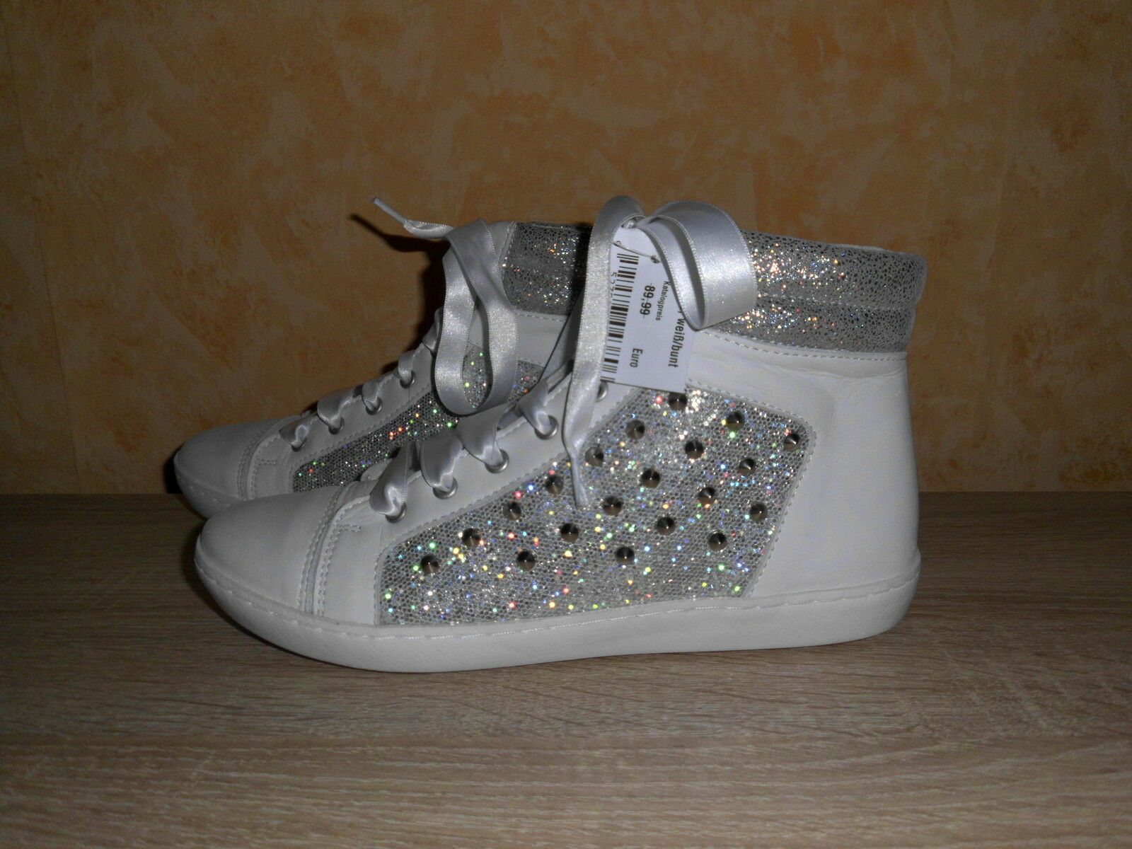 Lace-Up Trainers Running shoes of LIVA Loop New Size 38 in White Leather & Studs