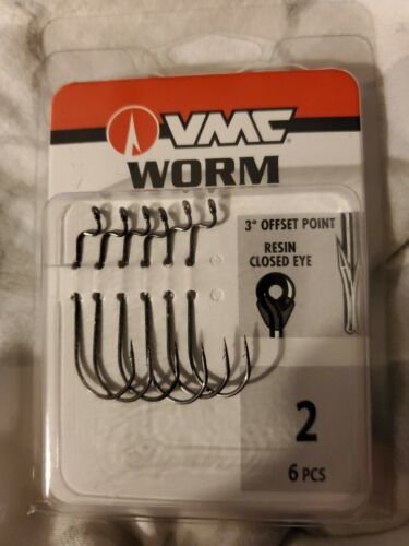 VMC WORM 3°offset point resin closed eye #2 6pcs ***will combine shipping ***