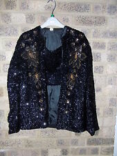 Vintage black & gold sequin beaded jacket statement bomber jacket 42""