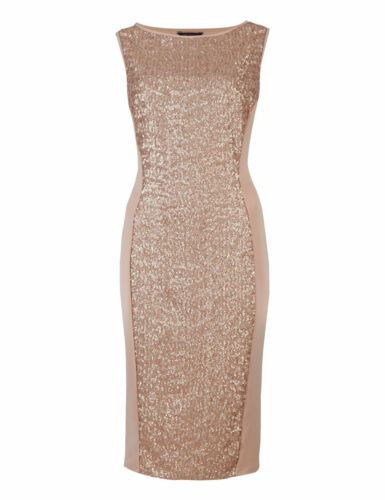 s Bodycon Paillettes Impreziosito Dress M 12 Collection Uk Nude Sz New CxgA5wqB