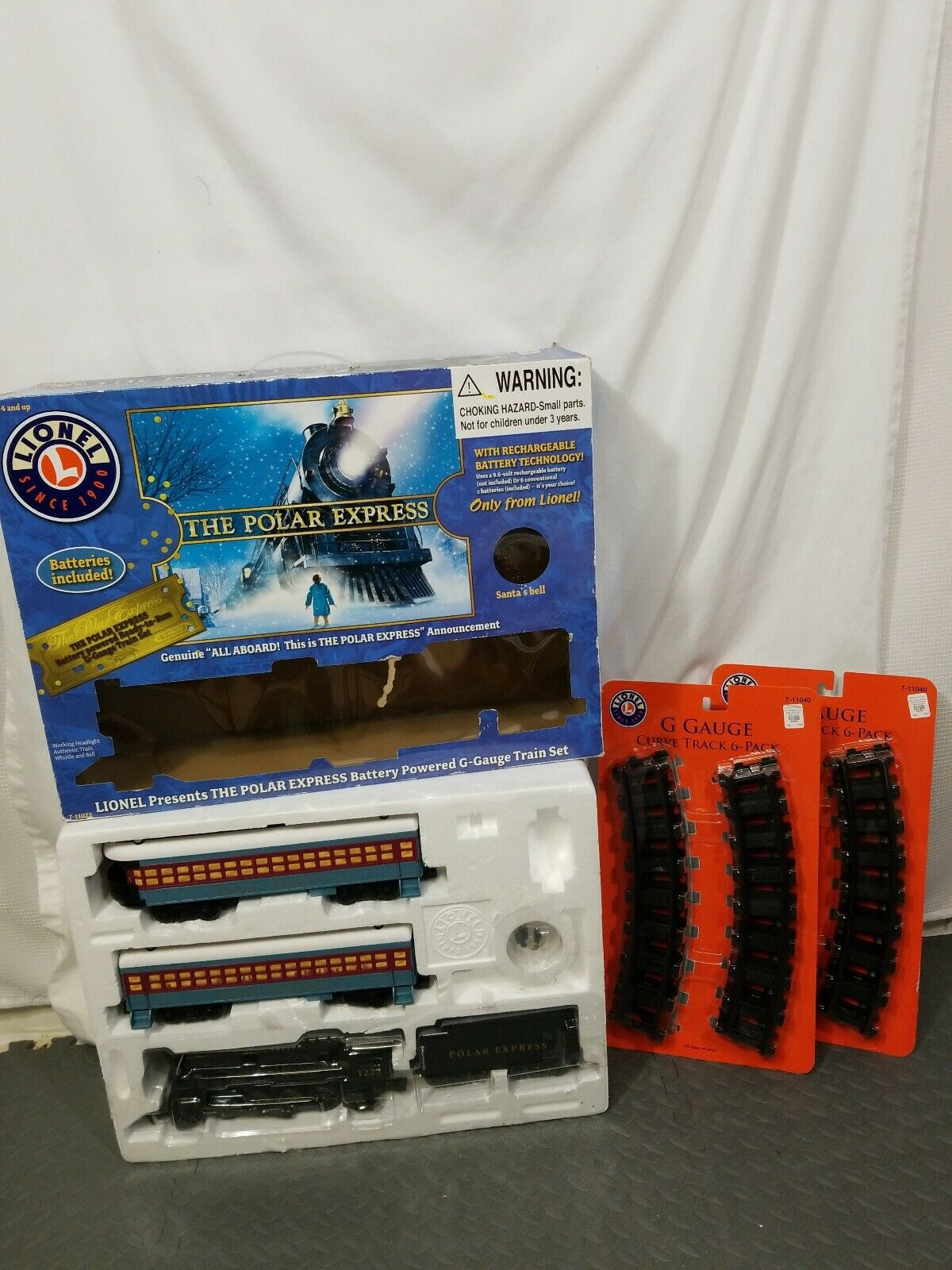 Lionel il Polar Express G Gauge Train & 12 EXTRA TRACKS NO BELL