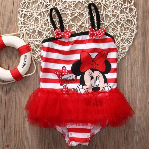 Baby Kids Girl Bowknot Striped Tutu Swimsuit One-Piece Bathing Skirt Beachwear